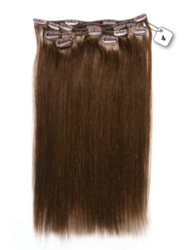 RedFox Clip-in Extensions - Straight - #4 Chocolate Brown