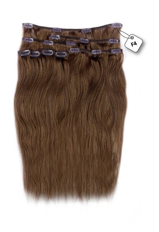 RedFox Clip-in Extensions - Straight - #F4 Dark Chestnut Brown