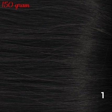 RedFox Clip-in Extensions 45cm - Extra Volume - 150 gram #1 Jetblack