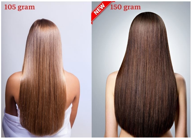 RedFox Clip-In Verlängerungen 45cm - Extra Volumen - 150 Gramm #1B Natural Black