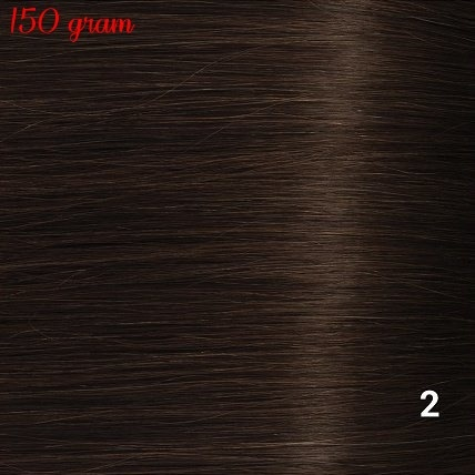 RedFox Clip-in Extensions 45cm - Extra Volume - 150 gram #2 Deep Dark Brown