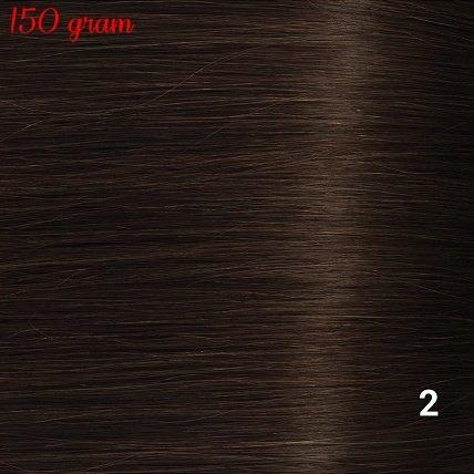RedFox Clip-In Verlängerungen 45cm - Extra Volumen - 150 Gramm #2 Deep Dark Brown