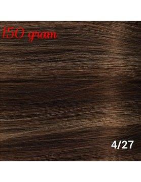 RedFox Clip-In Verlängerungen 45cm - Extra Volumen - 150 Gramm #4/27 Chocolate Brown, with dark blonde highlights