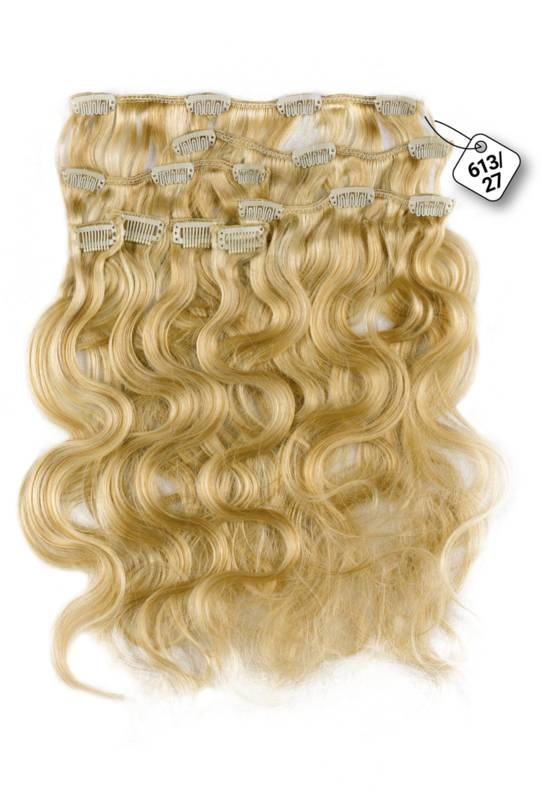 RedFox Clip-in Extensions - Body Wave - #613/27, Light Blonde/ Dark Blonde