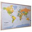 kurk prikbord wereldkaart - houten lijst - 60 x 90 cm