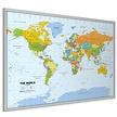 kurk prikbord wereldkaart - zilveren lijst - 60 x 90 cm