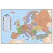 Kurk prikbord Europa kaart - zilveren lijst - 60 x 90 cm
