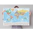 Kurk prikbord wereldkaart - 60 x 90 cm  - Multiplex of kurk