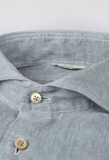 Stenströms Stenströms hemd linnen glay green Fitted body 675221-7597/410