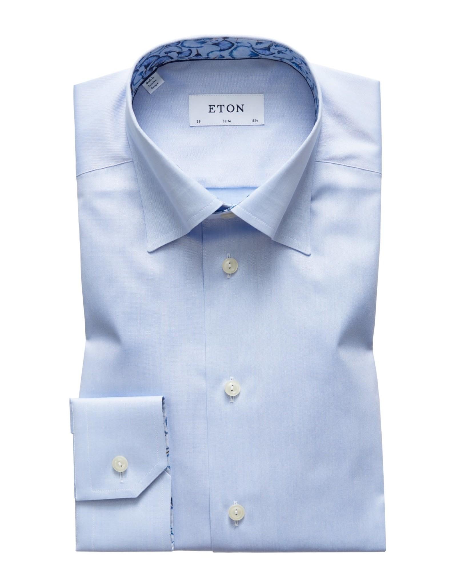 Eton Eton hemd contemporary blauw contrast 58