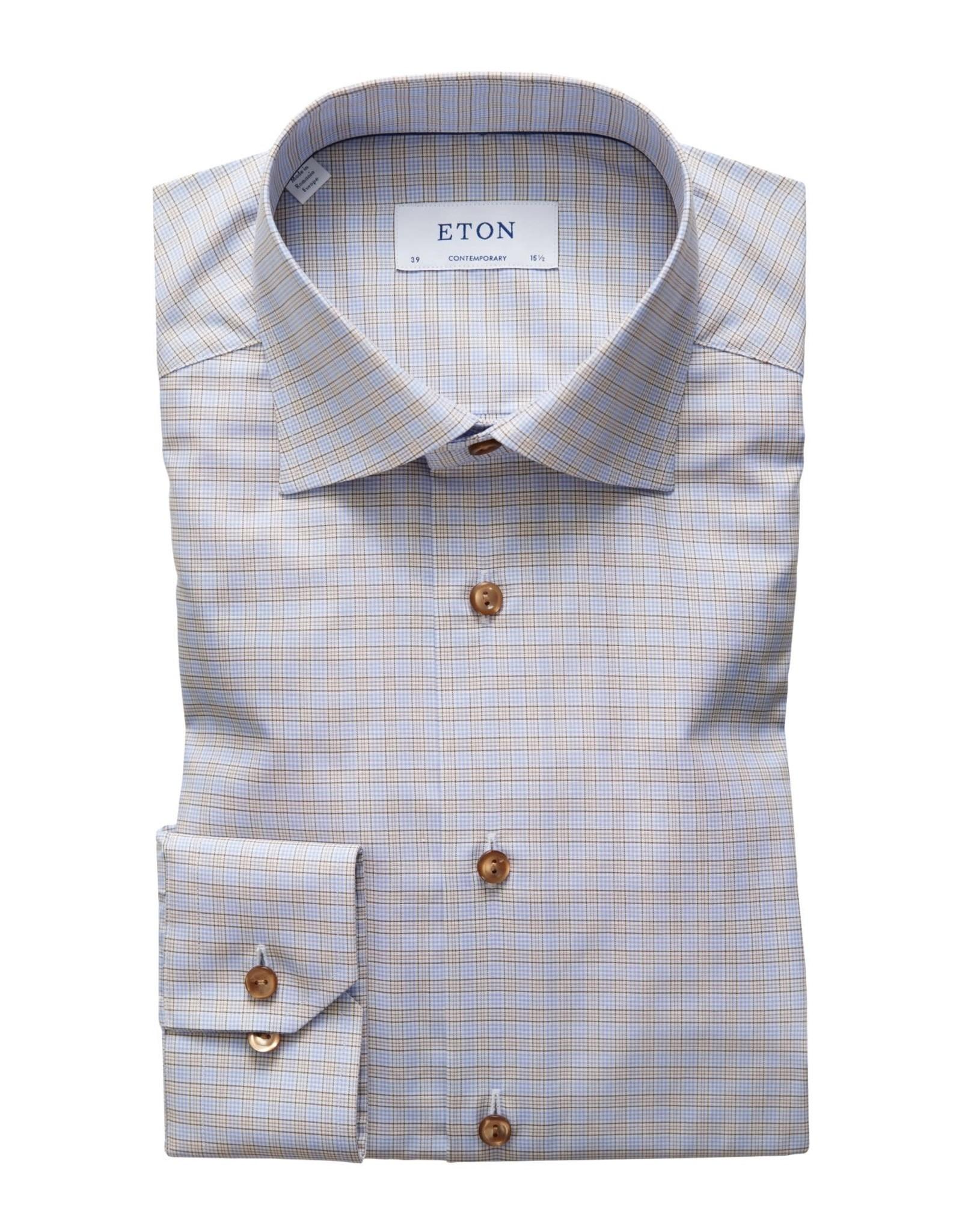 Eton Eton hemd blauw-bruin ruit classicfit 117