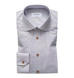 Eton Eton hemd blauw-bruin classic