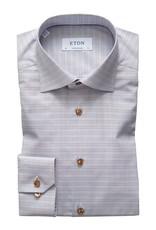 Eton Eton hemd blauw-bruin ruit contemporary 118