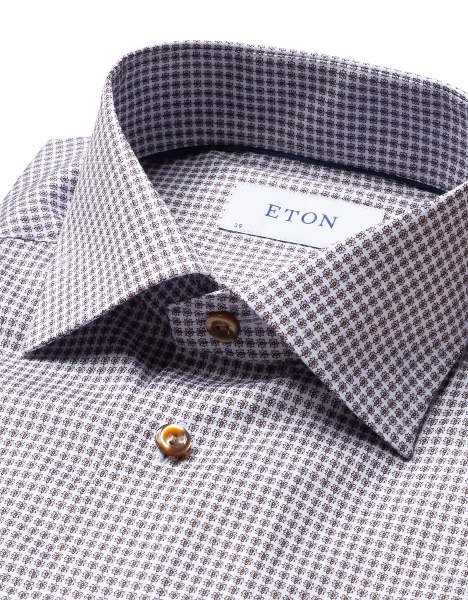 Eton Eton hemd beige bloemetjesmotief slim 778
