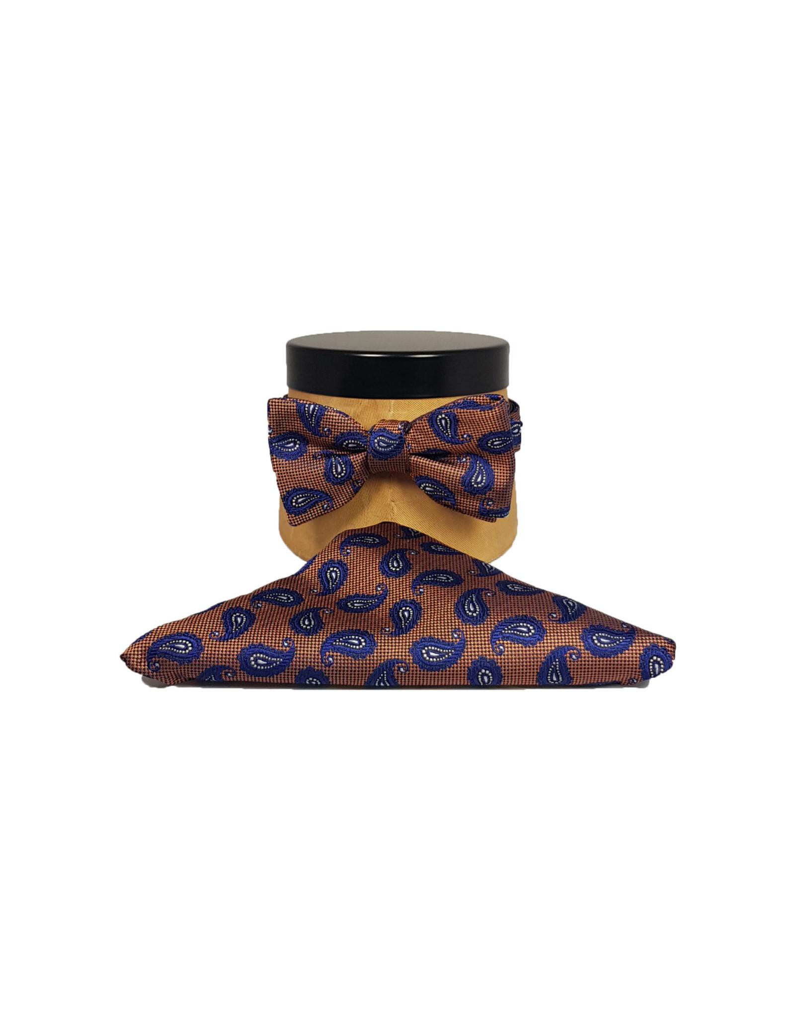 Ascot Sandmore's strik oranje-blauw paisley 726/3