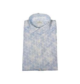 Sonrisa Sonrisa hemd wit-blauw motief semi-slim