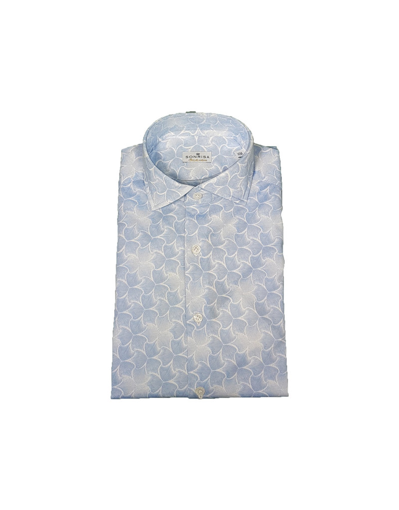 Sonrisa Sonrisa hemd wit-blauw motief semi-slim J714/01
