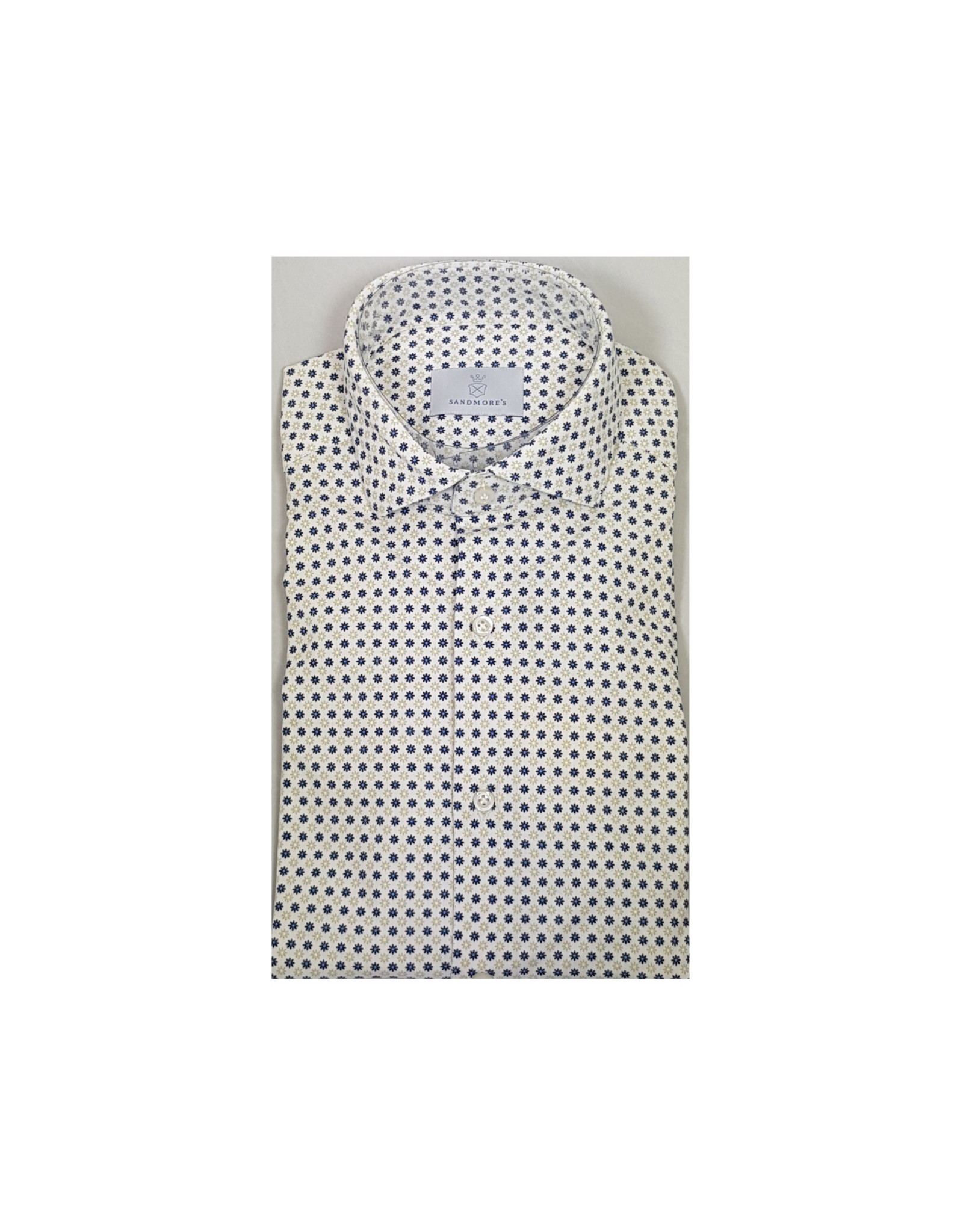 Ghirardelli Sandmore's hemd wit bloemetjesmotief slim J758/01