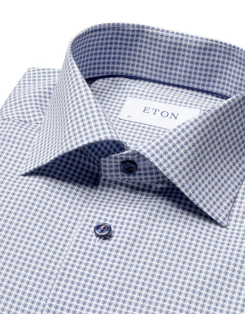 Eton Eton hemd blauw bloemetjesmotief contemporary 1042