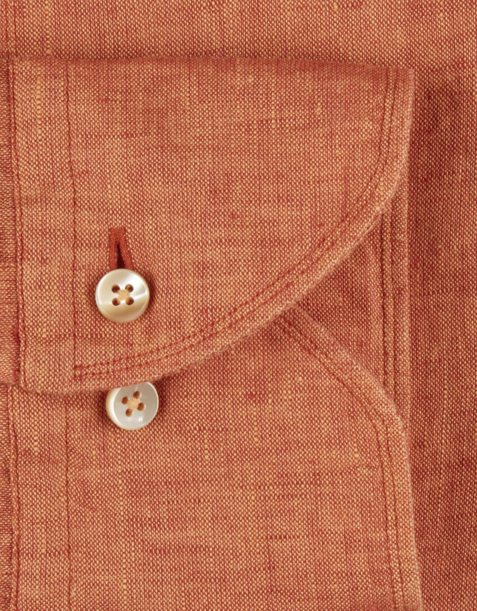 Stenströms Stenströms hemd linnen oranje Fitted body 675221-7970/760