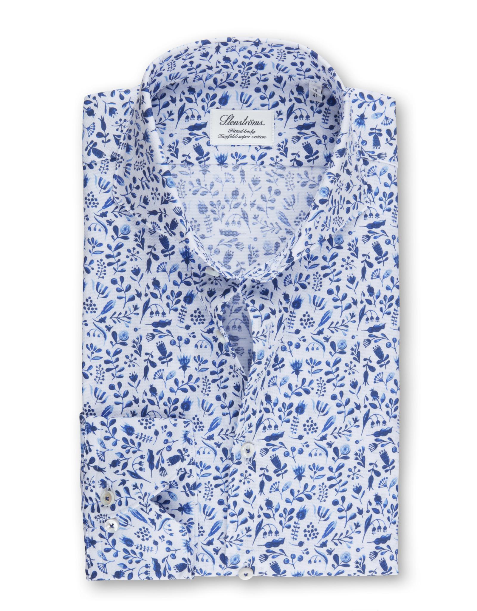 Stenströms Stenströms hemd wit-blauw slimline 712361-7930/121