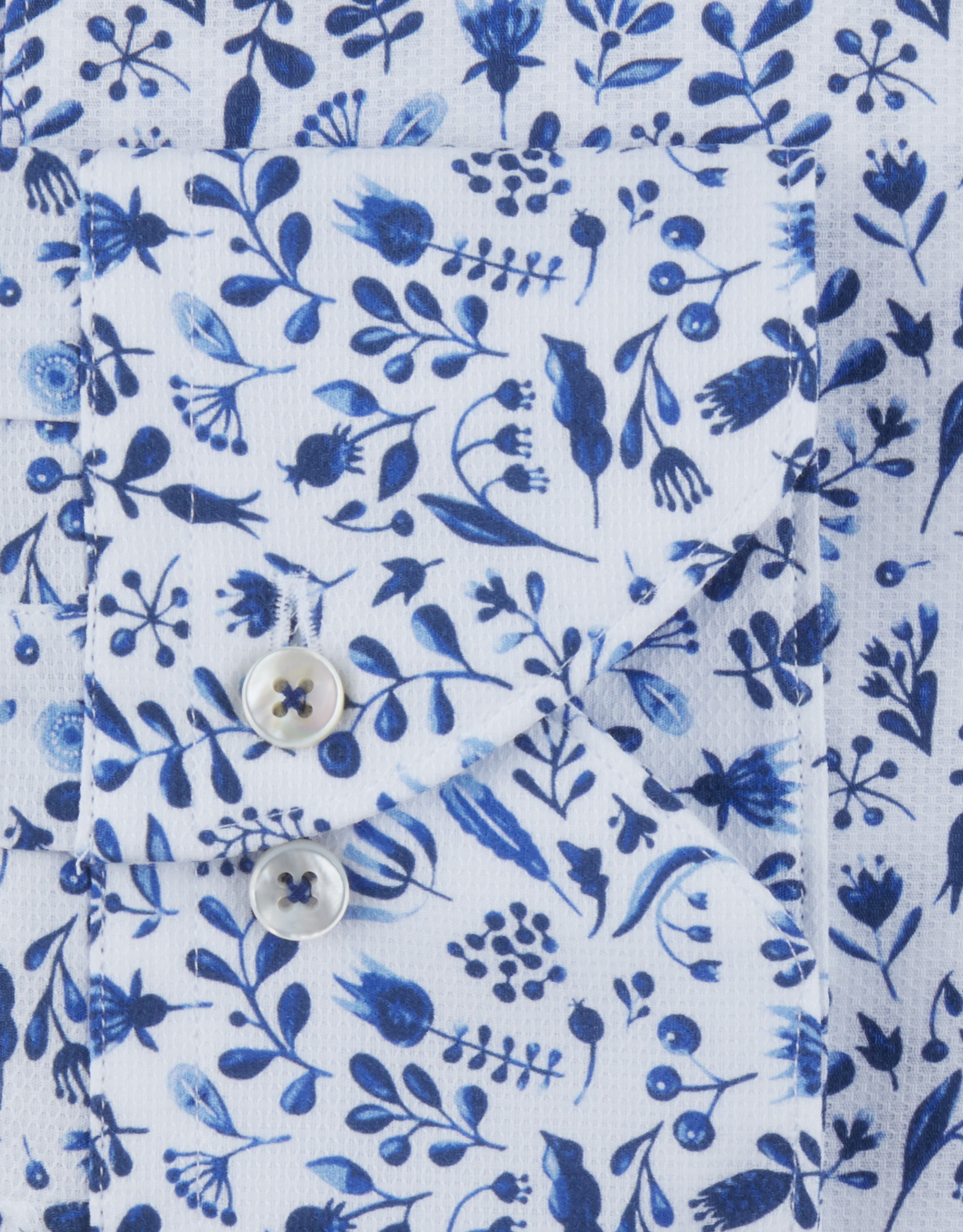 Stenströms Stenströms hemd wit-blauw Fitted body 612361-7930/121