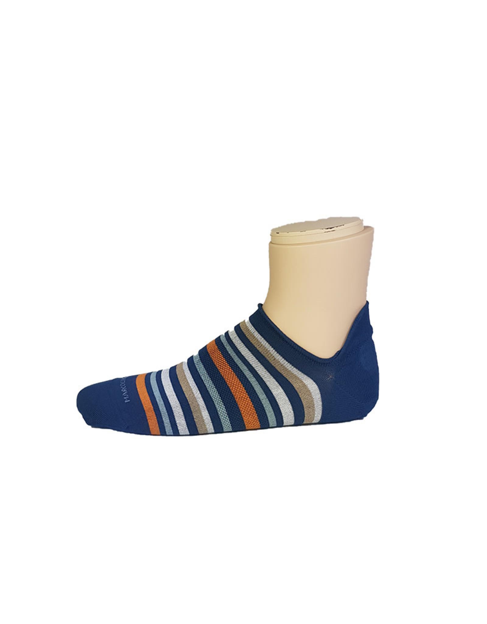 Marcoliani Marcoliani sokken blauw-oranje gestreept sneaker 4262K