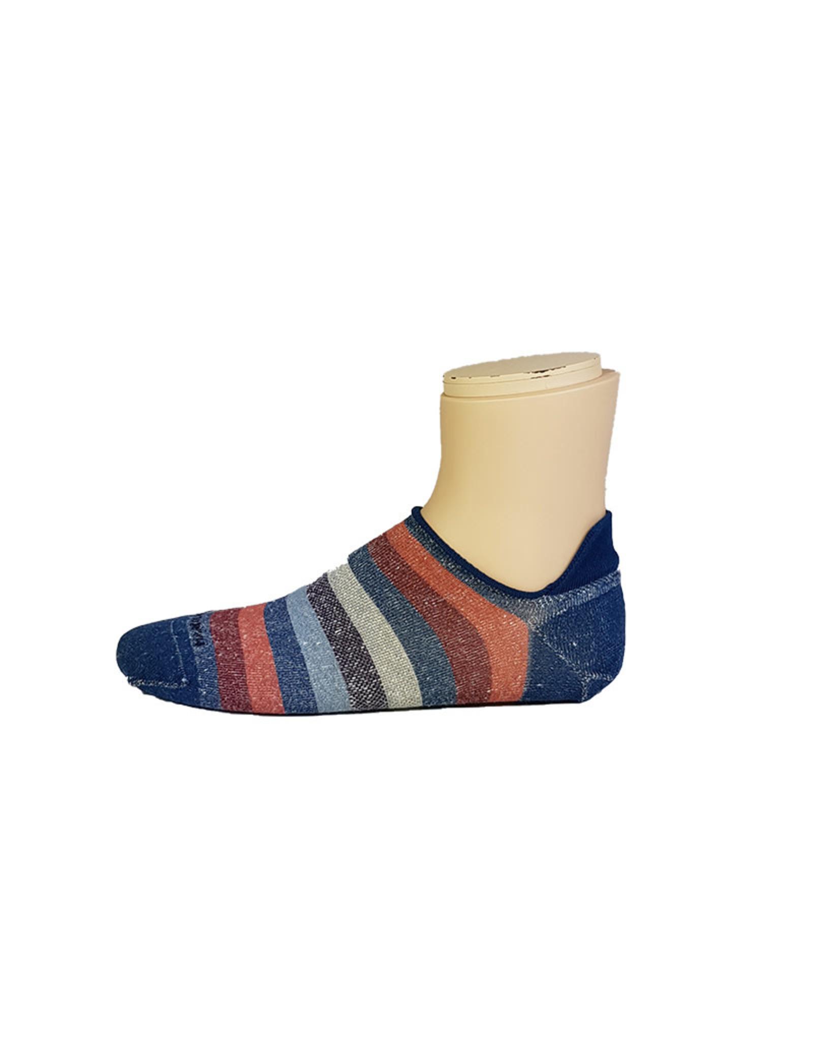 Marcoliani Marcoliani sokken blauw-rood gestreept sneaker 4266K