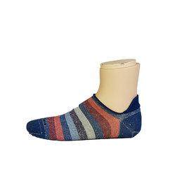 Marcoliani Marcoliani sokken blauw-rood gestreept sneaker