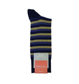 Marcoliani Marcoliani sokken blauw-geel gestreept