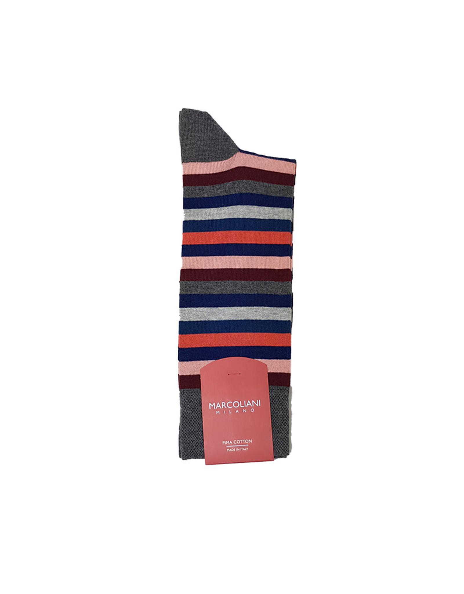 Marcoliani Marcoliani sokken rood gestreept 4040T/505