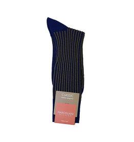 Marcoliani Marcoliani sokken blauw-geel pinstripe