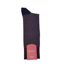 Marcoliani Marcoliani sokken bordeaux-grijs gestreept