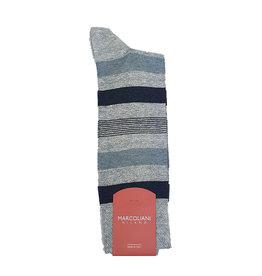 Marcoliani Marcoliani sokken grijs-blauw gestreept