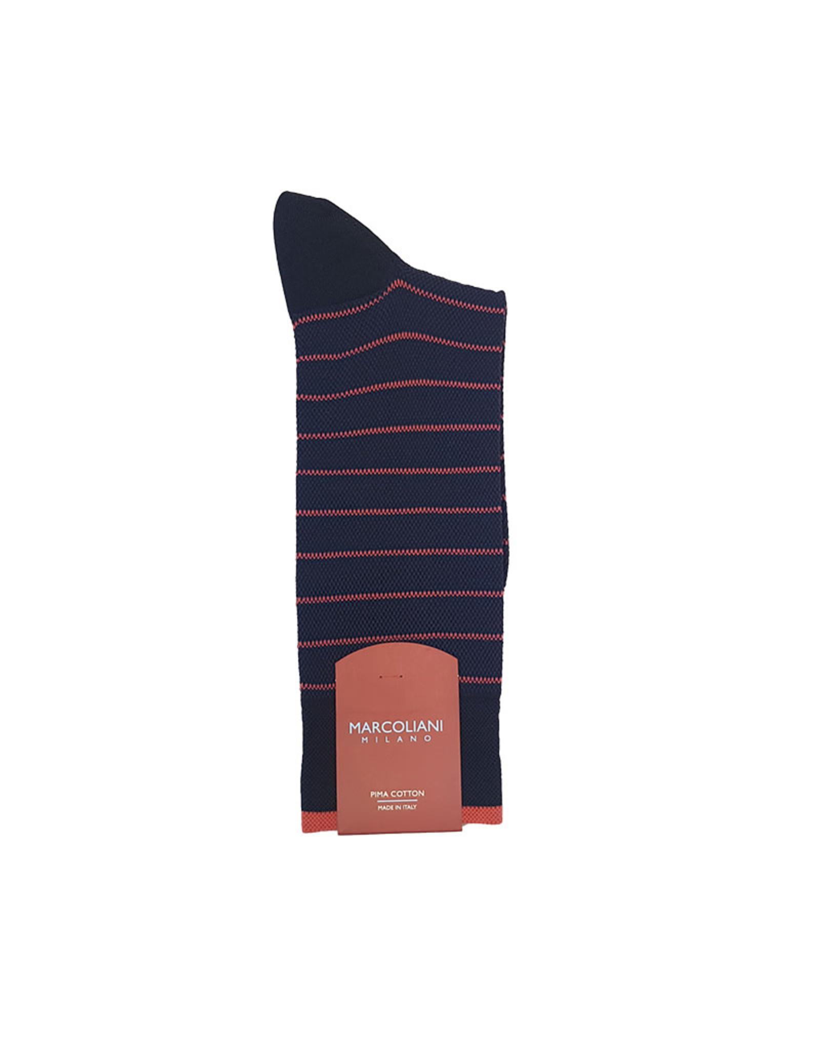 Marcoliani Marcoliani sokken blauw-rood gestreept 4245T/001