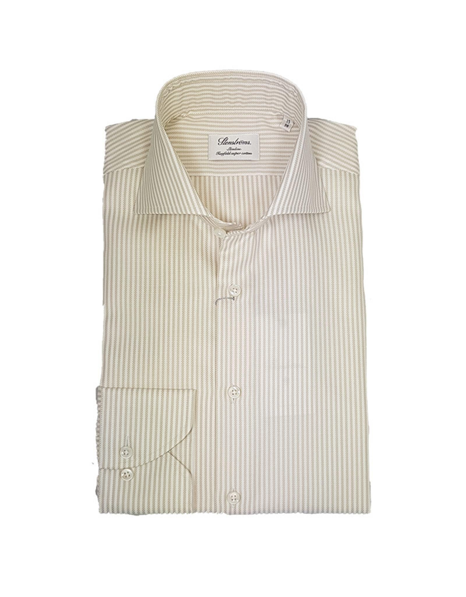 Stenströms Stenströms hemd beige gestreept Fitted body 602111-8021/212