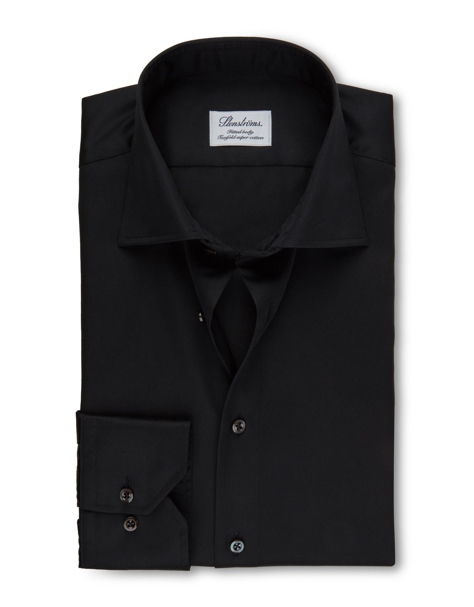 Stenströms Stenströms hemd zwart Fitted body 602771-1465/600