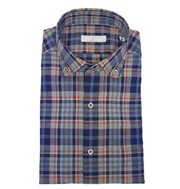 Ghirardelli Sandmore's hemd blauw-rood flannel Fitted body