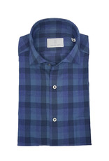 Ghirardelli Sandmore's hemd blauw-paars flannel Fitted body N1127