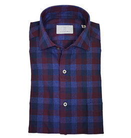 Ghirardelli Sandmore's hemd rood-blauw flannel Fitted body