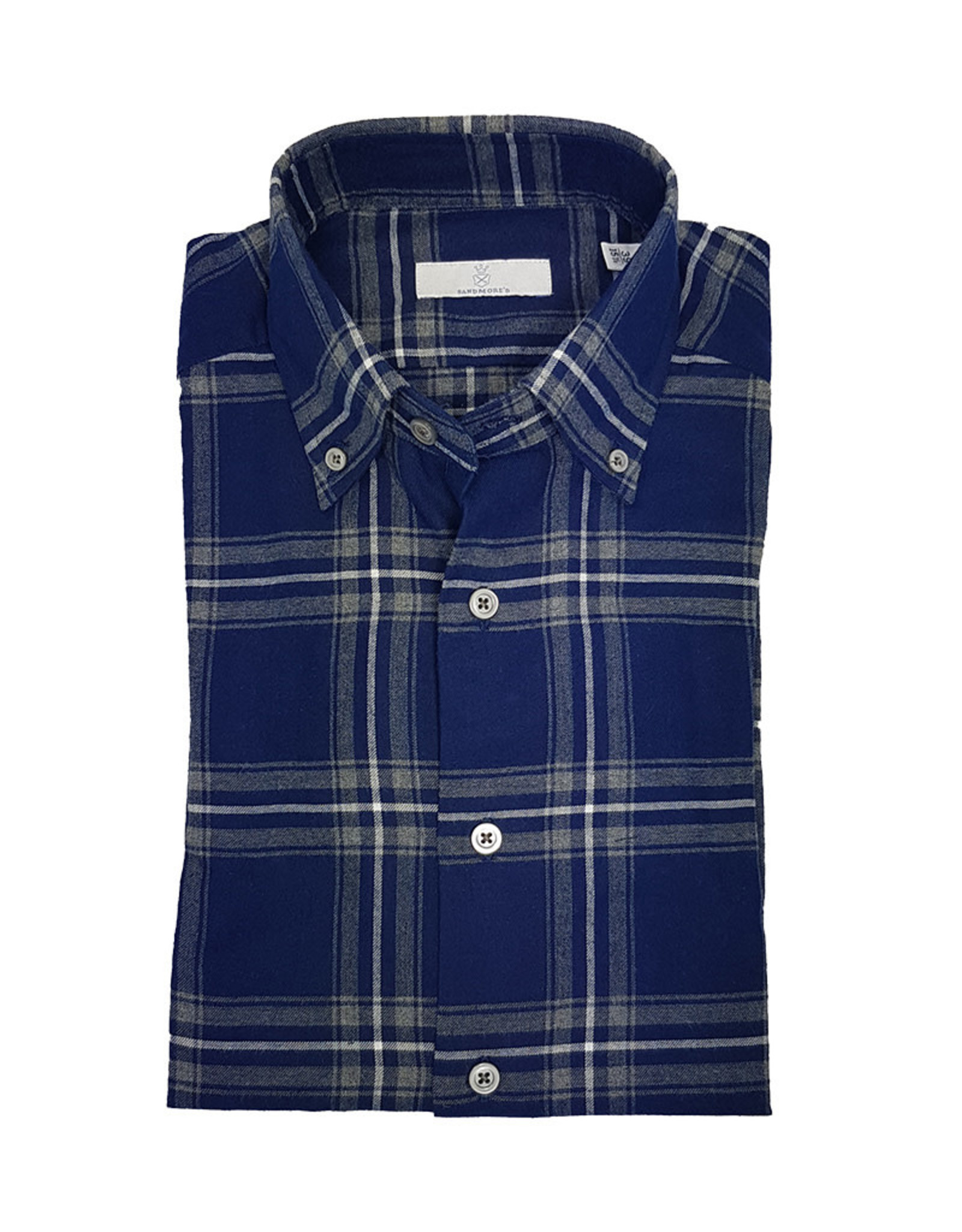 Ghirardelli Sandmore's hemd blauw flannel Fitted body A9122