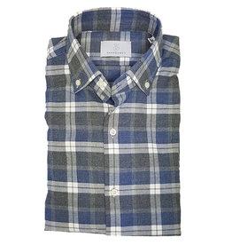 Ghirardelli Sandmore's hemd blauw-grijs flannel Fitted body