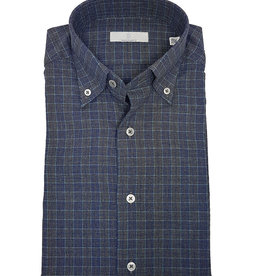 Ghirardelli Sandmore's hemd blauw flannel Fitted body
