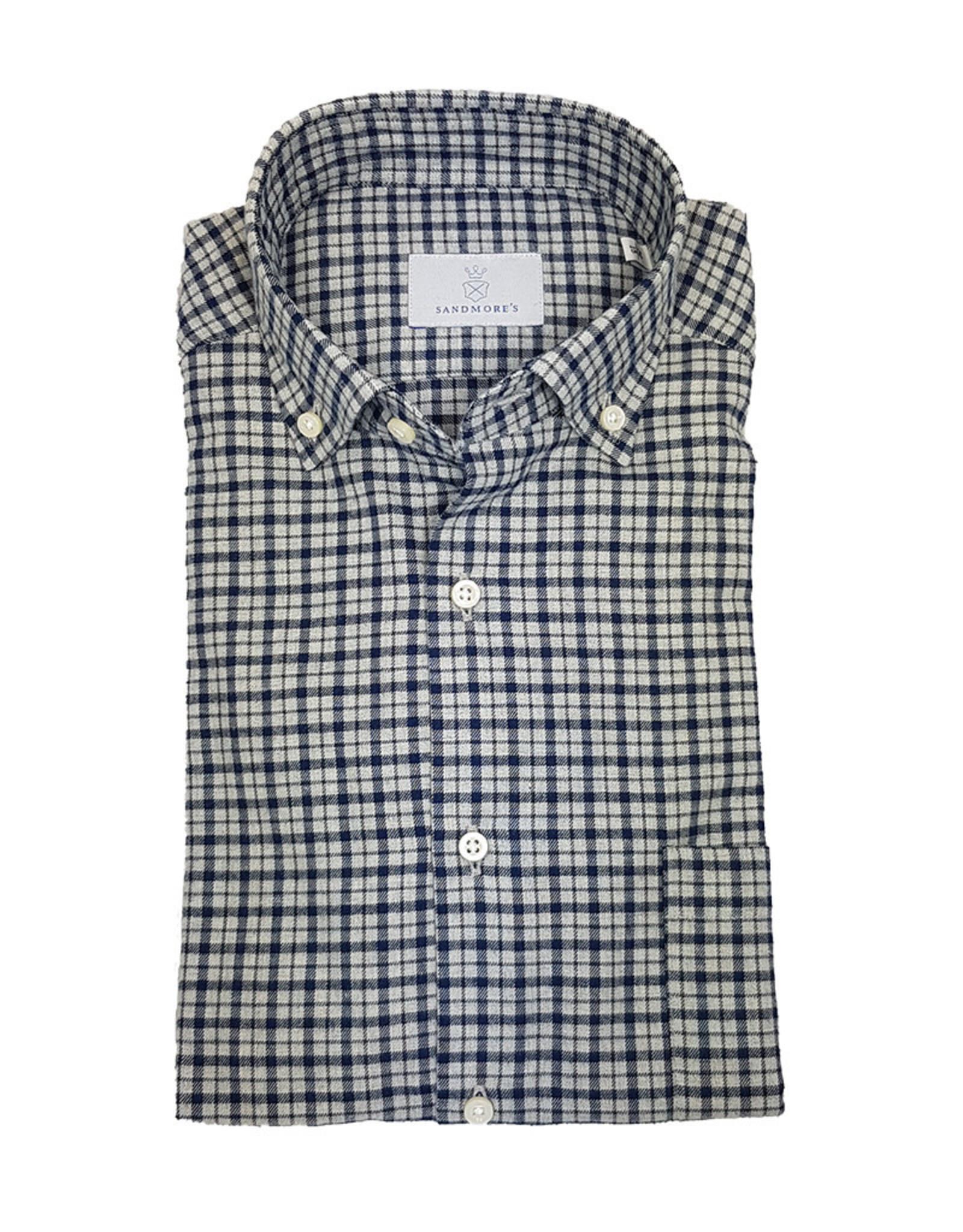 Ghirardelli Sandmore's hemd blauw flannel Fitted body N1117