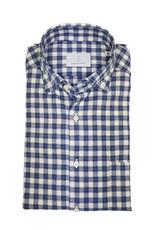 Ghirardelli Sandmore's hemd blauw-grijs flannel Fitted body N1114