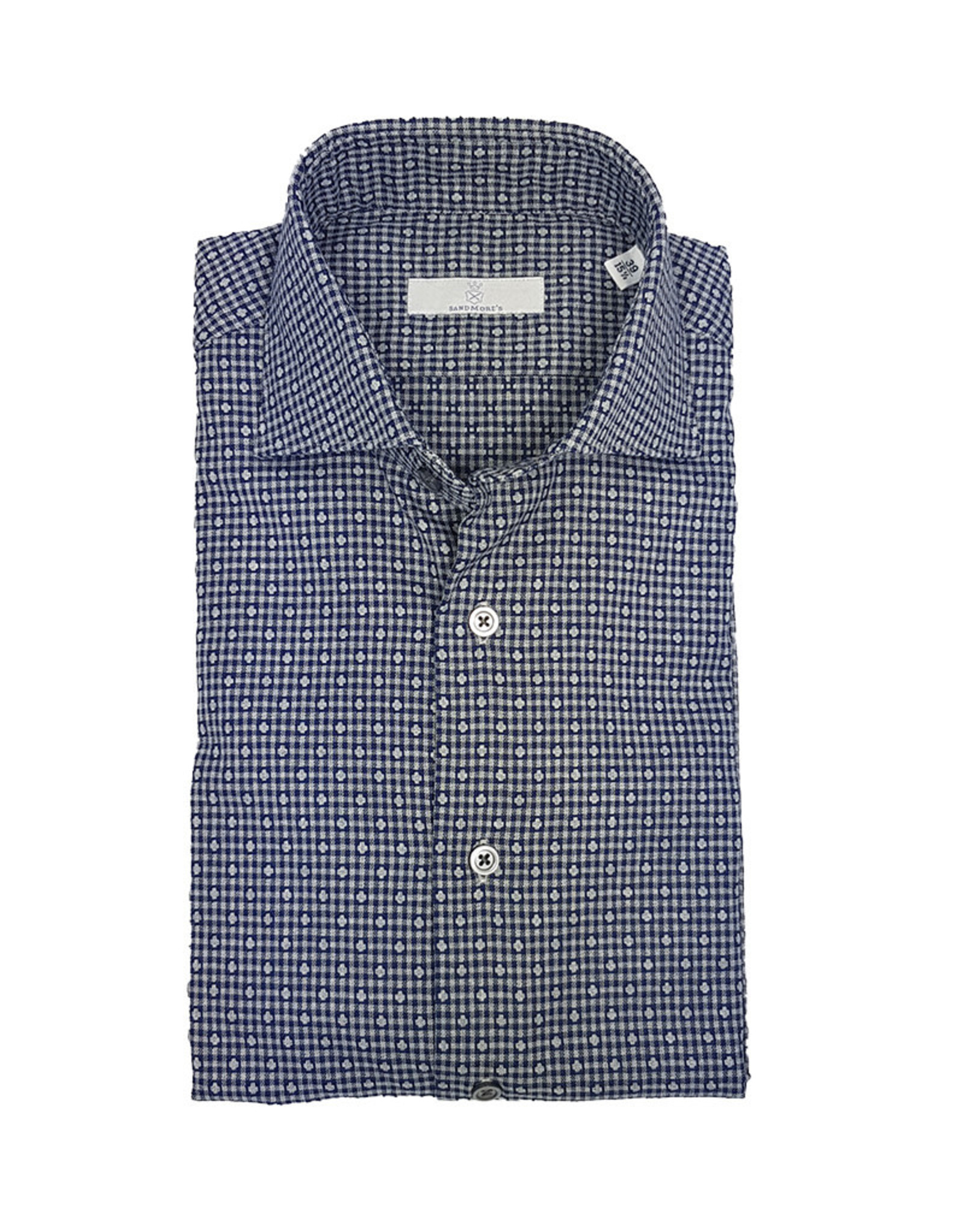 Ghirardelli Sandmore's hemd blauw-grijs Slimline  E1133