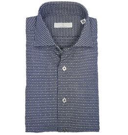 Ghirardelli Sandmore's hemd blauw-grijs Slimline