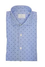 Ghirardelli Sandmore's hemd blauw gestreept Slimline F4111/01 P66 B741