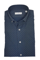 Ghirardelli Sandmore's hemd blauw bloemetjes Slimline  E1122