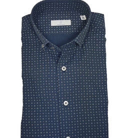 Ghirardelli Sandmore's hemd blauw bloemetjes Slimline